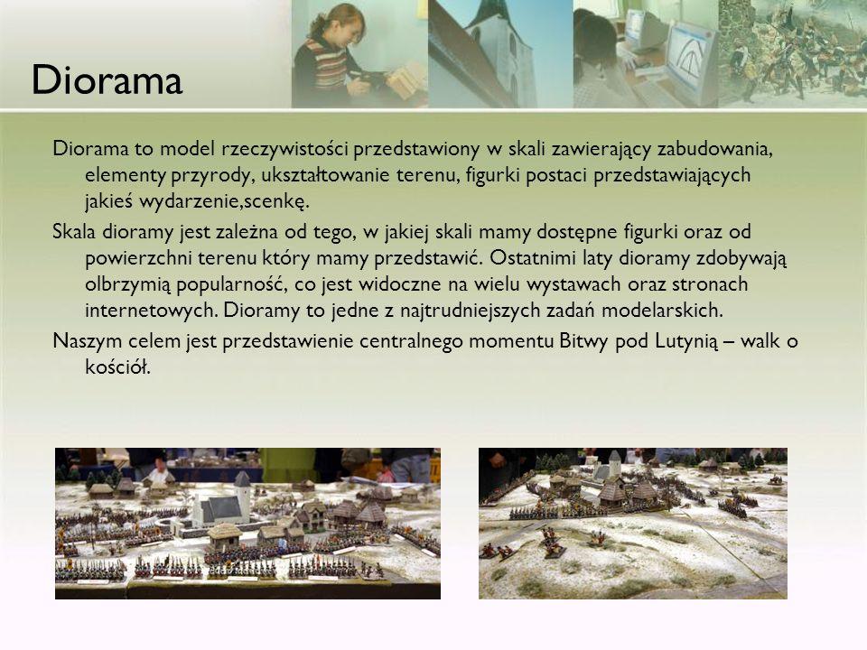 Diorama Diorama to model rzeczywistości przedstawiony w skali zawierający zabudowania, elementy przyrody, ukształtowanie terenu, figurki postaci przed