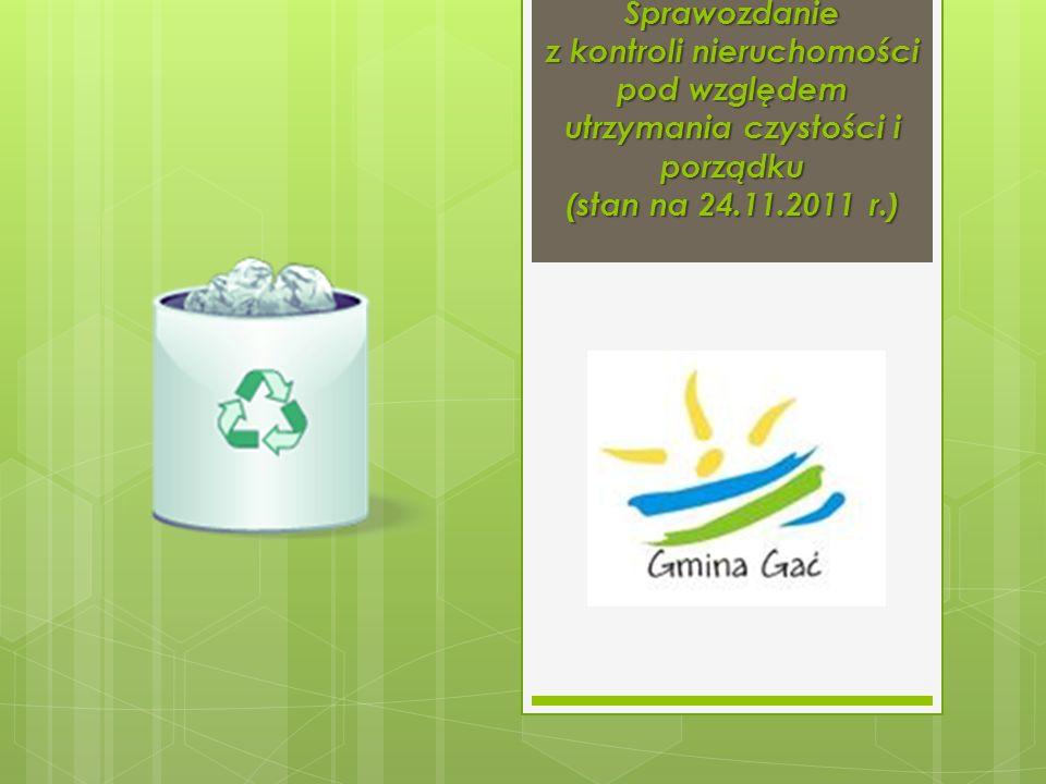 Sprawozdanie z kontroli nieruchomości pod względem utrzymania czystości i porządku (stan na 24.11.2011 r.)
