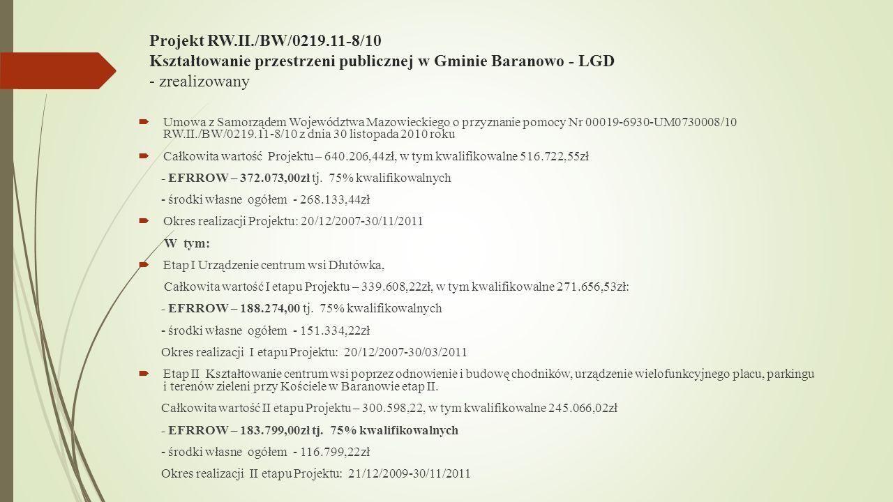 Projekt RW.II./BW/0219.11-8/10 Kształtowanie przestrzeni publicznej w Gminie Baranowo - LGD - zrealizowany Umowa z Samorządem Województwa Mazowieckiego o przyznanie pomocy Nr 00019-6930-UM0730008/10 RW.II./BW/0219.11-8/10 z dnia 30 listopada 2010 roku Całkowita wartość Projektu – 640.206,44zł, w tym kwalifikowalne 516.722,55zł - EFRROW – 372.073,00zł tj.