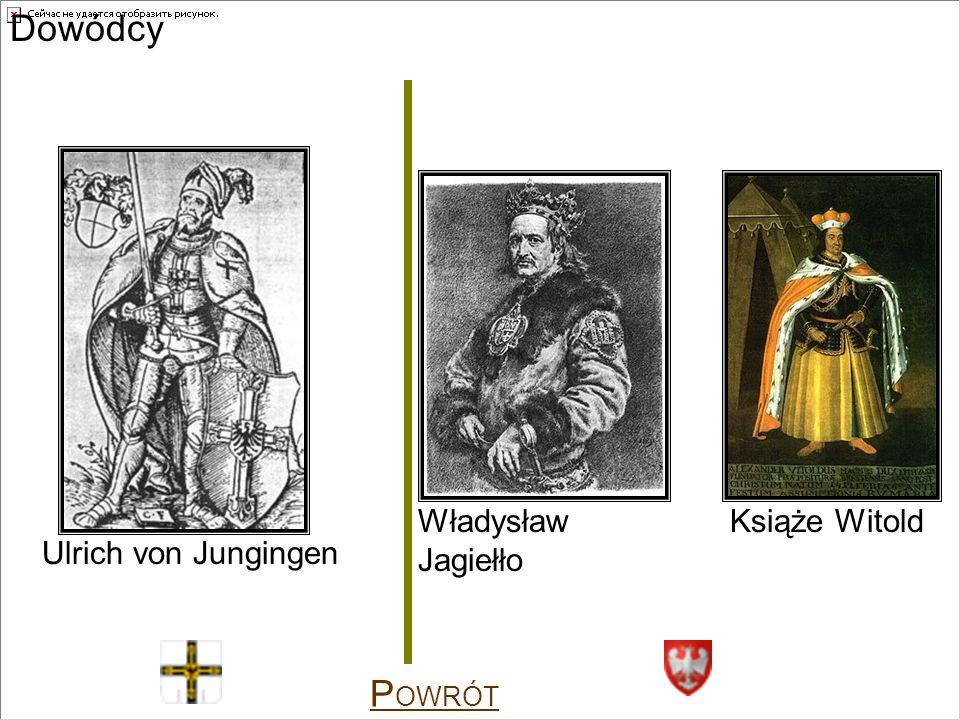 Dowódcy Ulrich von Jungingen Władysław Jagiełło Książe Witold P OWRÓT