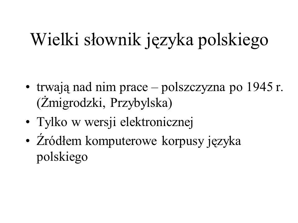Wielki słownik języka polskiego trwają nad nim prace – polszczyzna po 1945 r. (Żmigrodzki, Przybylska) Tylko w wersji elektronicznej Źródłem komputero
