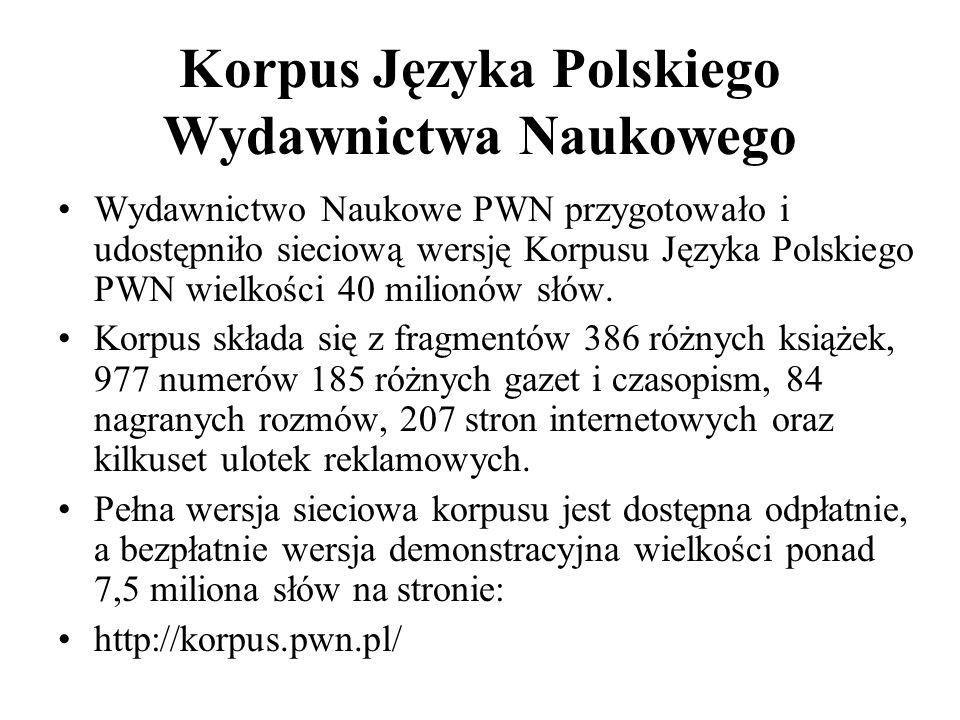 Korpus Języka Polskiego Wydawnictwa Naukowego Wydawnictwo Naukowe PWN przygotowało i udostępniło sieciową wersję Korpusu Języka Polskiego PWN wielkośc