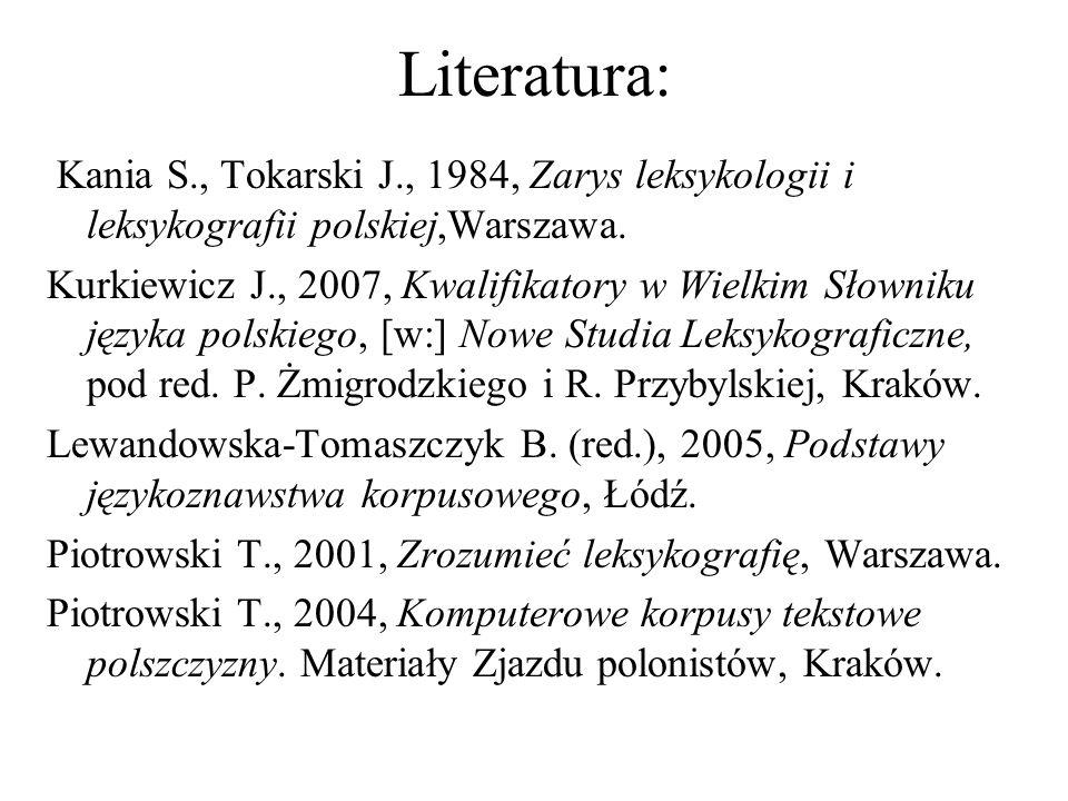 Literatura: Kania S., Tokarski J., 1984, Zarys leksykologii i leksykografii polskiej,Warszawa. Kurkiewicz J., 2007, Kwalifikatory w Wielkim Słowniku j