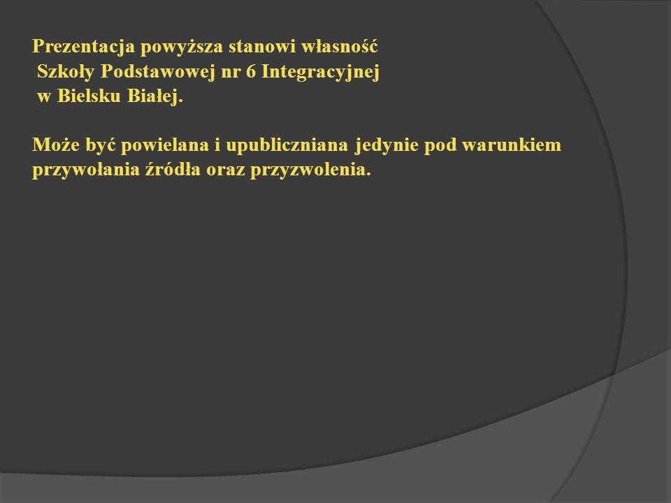Prezentacja powyższa stanowi własność Szkoły Podstawowej nr 6 Integracyjnej w Bielsku Białej.