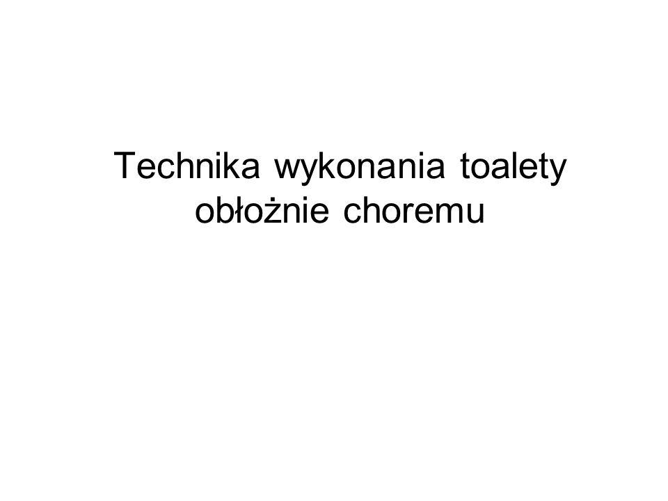 Toaleta intymna Toaleta kobiety: - umycie pachwin w kierunku od spojenia łonowego do odbytu - umycie spojenia łonowego - umycie zewnętrznych narządów płciowych w kierunku od spojenia łonowego do odbytu - polanie kroczca wodą z dzbanka w celu dokładnego zmycia mydła Toaleta mężczyzny: -odciągnięcia napletka i dokładne umycie żołędzi gazikiem zwilżonym wodą lub delikatną gąbką -o umyciu odprowadzenie napletka tak aby pokrywał żolądż -umycie pachwin -umycie worka mosznowego -obserwacja pod kątem odparzeń