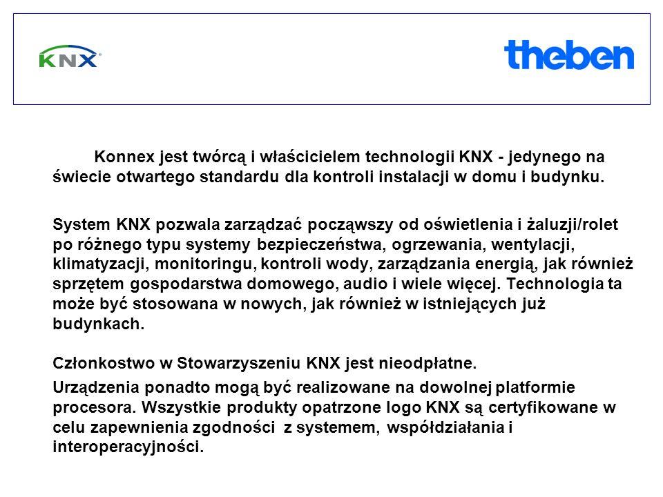 Konnex jest twórcą i właścicielem technologii KNX - jedynego na świecie otwartego standardu dla kontroli instalacji w domu i budynku. System KNX pozwa