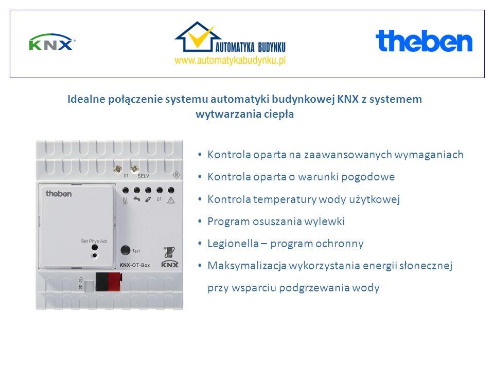Kontrola oparta na zaawansowanych wymaganiach Kontrola oparta o warunki pogodowe Kontrola temperatury wody użytkowej Program osuszania wylewki Legionella – program ochronny Maksymalizacja wykorzystania energii słonecznej przy wsparciu podgrzewania wody Idealne połączenie systemu automatyki budynkowej KNX z systemem wytwarzania ciepła