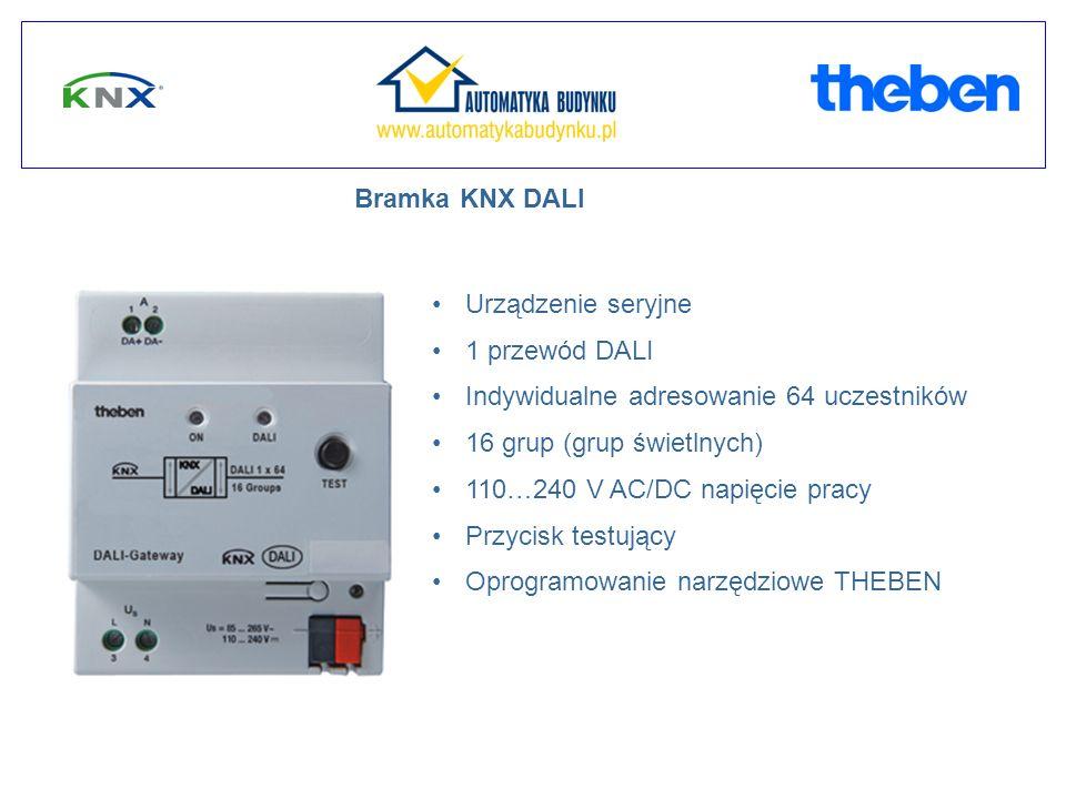 Bramka KNX DALI Urządzenie seryjne 1 przewód DALI Indywidualne adresowanie 64 uczestników 16 grup (grup świetlnych) 110…240 V AC/DC napięcie pracy Przycisk testujący Oprogramowanie narzędziowe THEBEN