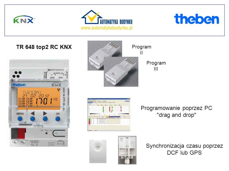Program II Program III TR 648 top2 RC KNX Synchronizacja czasu poprzez DCF lub GPS Programowanie poprzez PC drag and drop