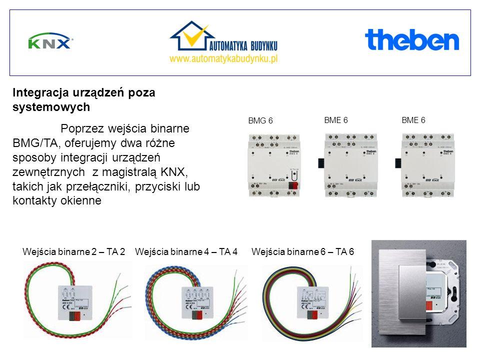 Integracja urządzeń poza systemowych Poprzez wejścia binarne BMG/TA, oferujemy dwa różne sposoby integracji urządzeń zewnętrznych z magistralą KNX, takich jak przełączniki, przyciski lub kontakty okienne Wejścia binarne 2 – TA 2Wejścia binarne 6 – TA 6Wejścia binarne 4 – TA 4 BMG 6 BME 6