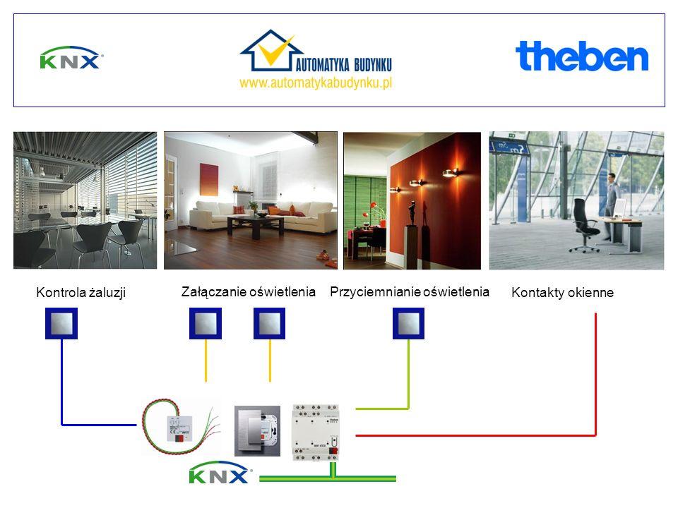 Kontrola żaluzji Załączanie oświetleniaPrzyciemnianie oświetlenia Kontakty okienne