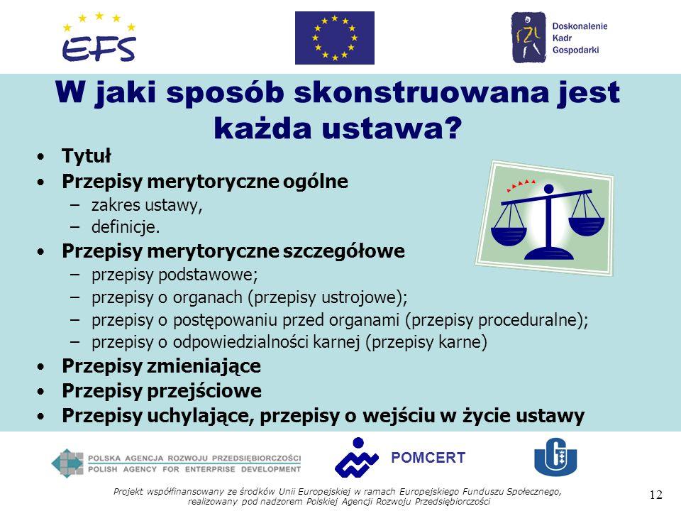 Projekt współfinansowany ze środków Unii Europejskiej w ramach Europejskiego Funduszu Społecznego, realizowany pod nadzorem Polskiej Agencji Rozwoju Przedsiębiorczości 12 POMCERT W jaki sposób skonstruowana jest każda ustawa.
