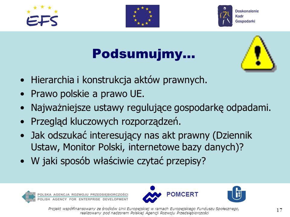 Projekt współfinansowany ze środków Unii Europejskiej w ramach Europejskiego Funduszu Społecznego, realizowany pod nadzorem Polskiej Agencji Rozwoju Przedsiębiorczości 17 POMCERT Podsumujmy… Hierarchia i konstrukcja aktów prawnych.