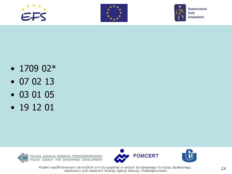 Projekt współfinansowany ze środków Unii Europejskiej w ramach Europejskiego Funduszu Społecznego, realizowany pod nadzorem Polskiej Agencji Rozwoju Przedsiębiorczości 24 POMCERT 1709 02* 07 02 13 03 01 05 19 12 01