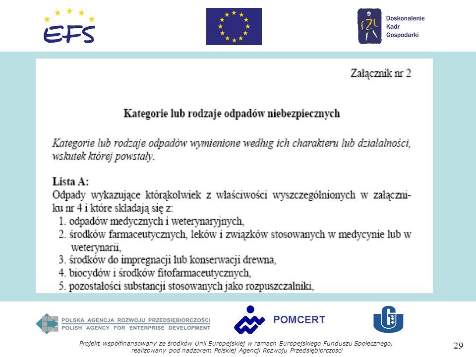 Projekt współfinansowany ze środków Unii Europejskiej w ramach Europejskiego Funduszu Społecznego, realizowany pod nadzorem Polskiej Agencji Rozwoju Przedsiębiorczości 29 POMCERT