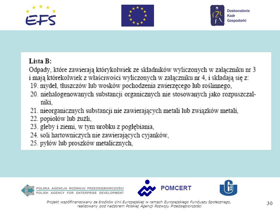 Projekt współfinansowany ze środków Unii Europejskiej w ramach Europejskiego Funduszu Społecznego, realizowany pod nadzorem Polskiej Agencji Rozwoju Przedsiębiorczości 30 POMCERT