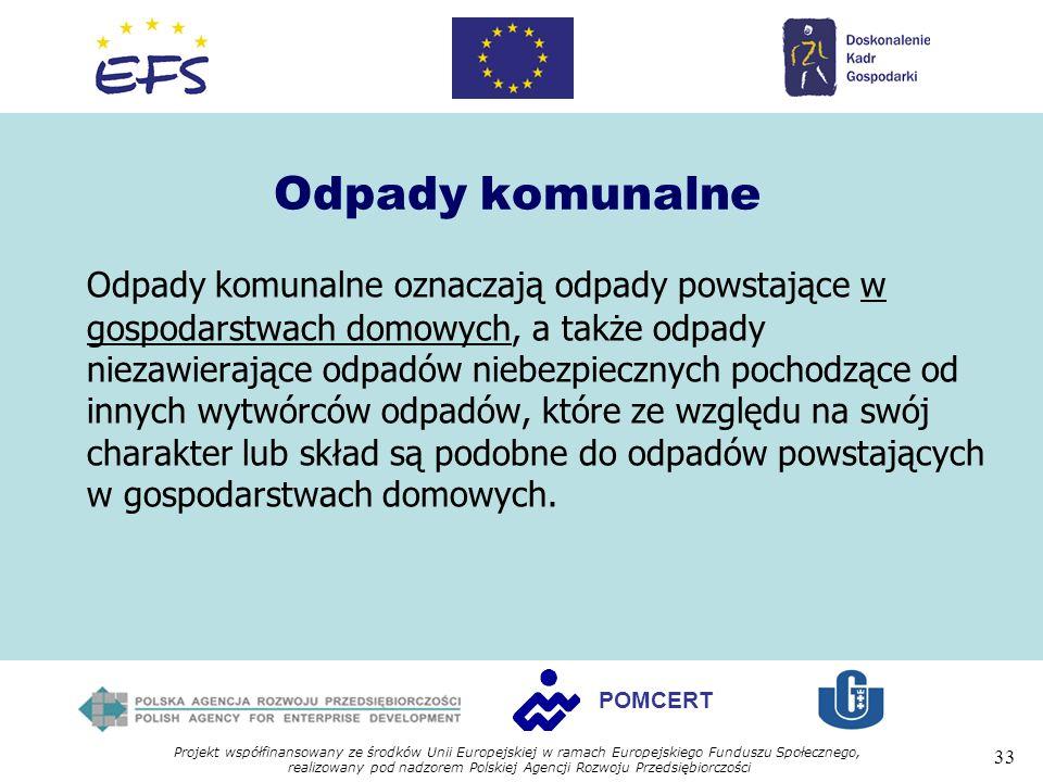 Projekt współfinansowany ze środków Unii Europejskiej w ramach Europejskiego Funduszu Społecznego, realizowany pod nadzorem Polskiej Agencji Rozwoju Przedsiębiorczości 33 POMCERT Odpady komunalne Odpady komunalne oznaczają odpady powstające w gospodarstwach domowych, a także odpady niezawierające odpadów niebezpiecznych pochodzące od innych wytwórców odpadów, które ze względu na swój charakter lub skład są podobne do odpadów powstających w gospodarstwach domowych.
