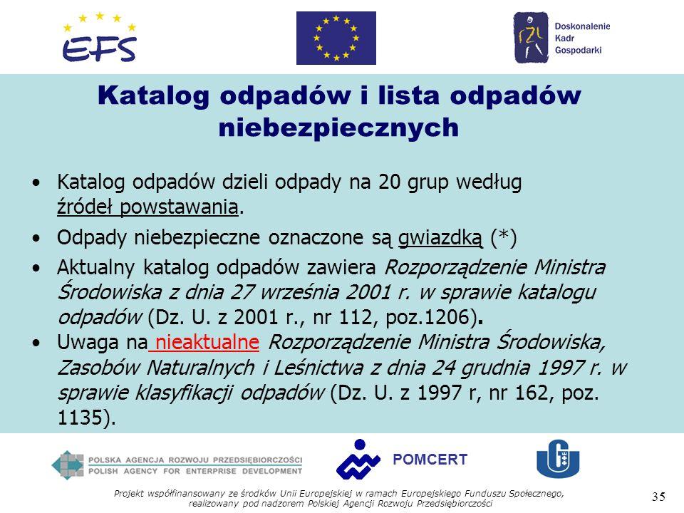 Projekt współfinansowany ze środków Unii Europejskiej w ramach Europejskiego Funduszu Społecznego, realizowany pod nadzorem Polskiej Agencji Rozwoju Przedsiębiorczości 35 POMCERT Katalog odpadów i lista odpadów niebezpiecznych Katalog odpadów dzieli odpady na 20 grup według źródeł powstawania.