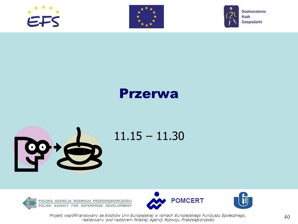 Projekt współfinansowany ze środków Unii Europejskiej w ramach Europejskiego Funduszu Społecznego, realizowany pod nadzorem Polskiej Agencji Rozwoju Przedsiębiorczości 40 POMCERT Przerwa 11.15 – 11.30