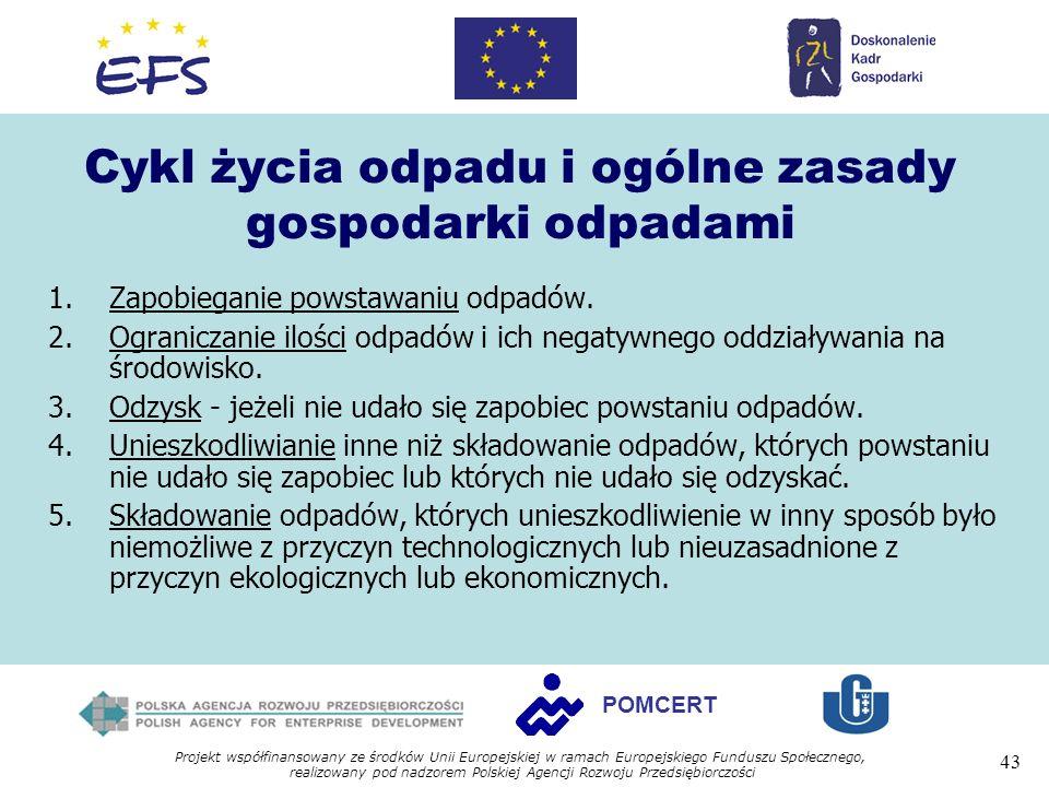 Projekt współfinansowany ze środków Unii Europejskiej w ramach Europejskiego Funduszu Społecznego, realizowany pod nadzorem Polskiej Agencji Rozwoju Przedsiębiorczości 43 POMCERT Cykl życia odpadu i ogólne zasady gospodarki odpadami 1.Zapobieganie powstawaniu odpadów.