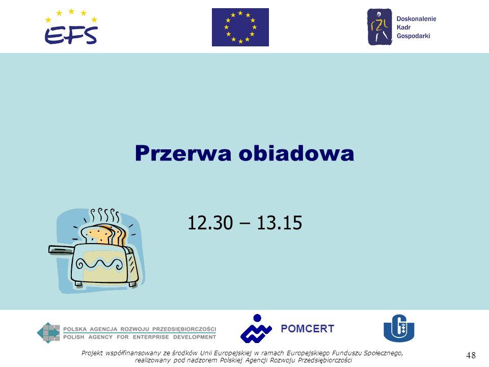 Projekt współfinansowany ze środków Unii Europejskiej w ramach Europejskiego Funduszu Społecznego, realizowany pod nadzorem Polskiej Agencji Rozwoju Przedsiębiorczości 48 POMCERT Przerwa obiadowa 12.30 – 13.15