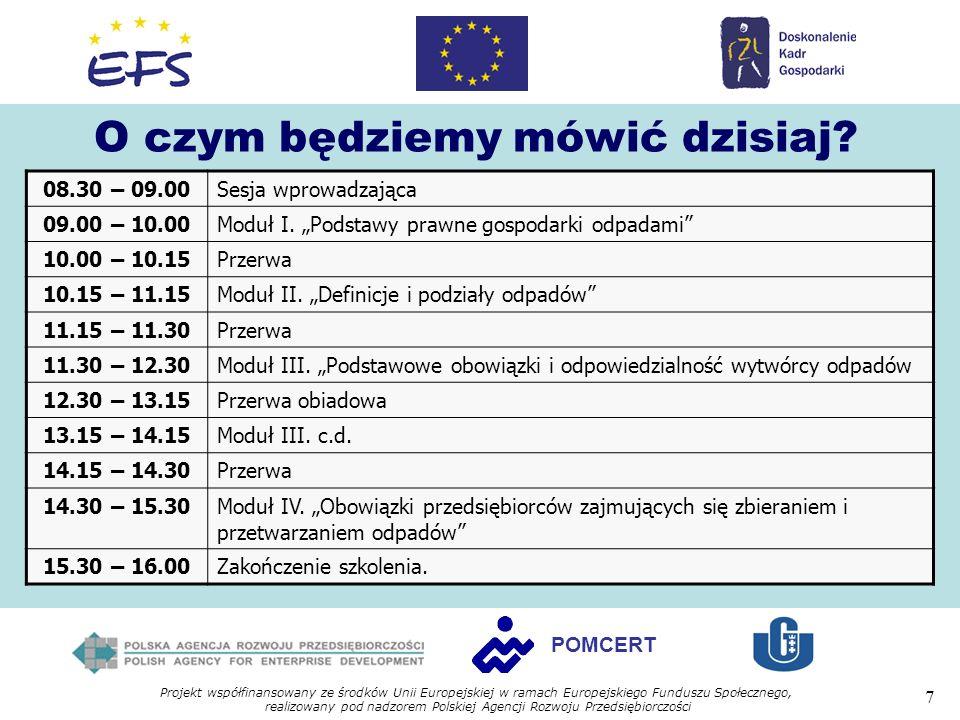 Projekt współfinansowany ze środków Unii Europejskiej w ramach Europejskiego Funduszu Społecznego, realizowany pod nadzorem Polskiej Agencji Rozwoju Przedsiębiorczości 7 POMCERT O czym będziemy mówić dzisiaj.