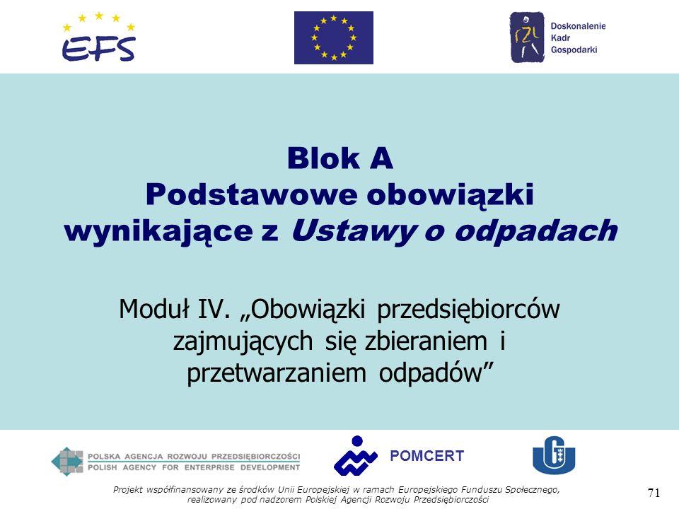 Projekt współfinansowany ze środków Unii Europejskiej w ramach Europejskiego Funduszu Społecznego, realizowany pod nadzorem Polskiej Agencji Rozwoju Przedsiębiorczości 71 POMCERT Blok A Podstawowe obowiązki wynikające z Ustawy o odpadach Moduł IV.