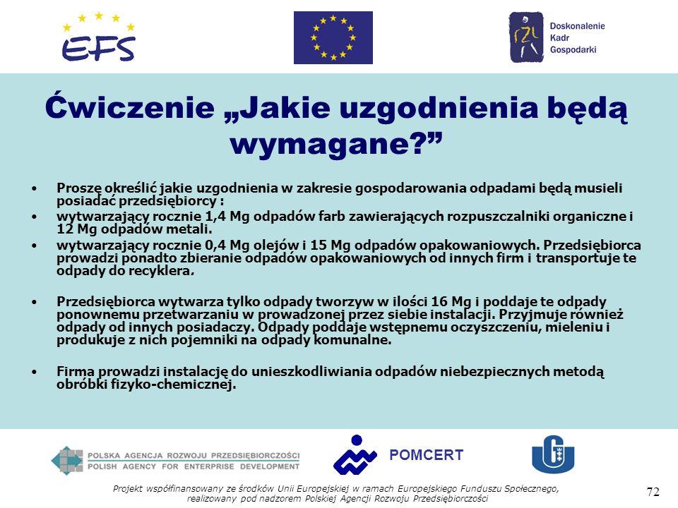 Projekt współfinansowany ze środków Unii Europejskiej w ramach Europejskiego Funduszu Społecznego, realizowany pod nadzorem Polskiej Agencji Rozwoju Przedsiębiorczości 72 POMCERT Ćwiczenie Jakie uzgodnienia będą wymagane.