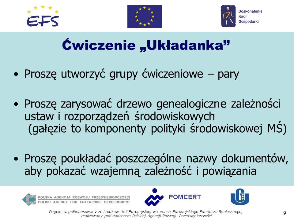Projekt współfinansowany ze środków Unii Europejskiej w ramach Europejskiego Funduszu Społecznego, realizowany pod nadzorem Polskiej Agencji Rozwoju Przedsiębiorczości 9 POMCERT Ćwiczenie Układanka Proszę utworzyć grupy ćwiczeniowe – pary Proszę zarysować drzewo genealogiczne zależności ustaw i rozporządzeń środowiskowych (gałęzie to komponenty polityki środowiskowej MŚ) Proszę poukładać poszczególne nazwy dokumentów, aby pokazać wzajemną zależność i powiązania