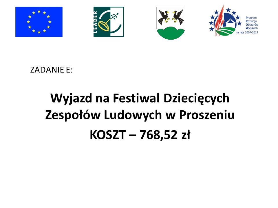 ZADANIE E: Wyjazd na Festiwal Dziecięcych Zespołów Ludowych w Proszeniu KOSZT – 768,52 zł