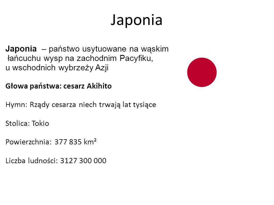 Japonia Japonia – państwo usytuowane na wąskim łańcuchu wysp na zachodnim Pacyfiku, u wschodnich wybrzeży Azji Głowa państwa: cesarz Akihito Hymn: Rządy cesarza niech trwają lat tysiące Stolica: Tokio Powierzchnia: 377 835 km² Liczba ludności: 3127 300 000