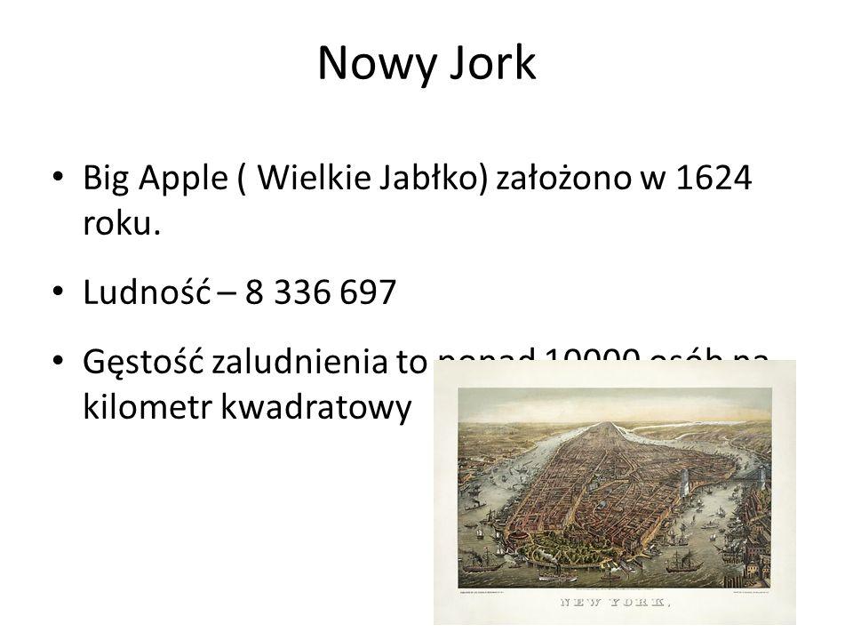 Nowy Jork Big Apple ( Wielkie Jabłko) założono w 1624 roku. Ludność – 8 336 697 Gęstość zaludnienia to ponad 10000 osób na kilometr kwadratowy