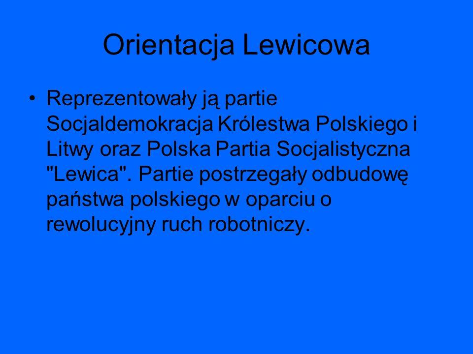 Orientacja Lewicowa Reprezentowały ją partie Socjaldemokracja Królestwa Polskiego i Litwy oraz Polska Partia Socjalistyczna