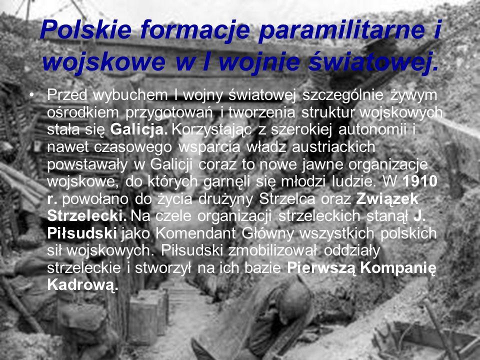 Polskie formacje paramilitarne i wojskowe w I wojnie światowej. Przed wybuchem I wojny światowej szczególnie żywym ośrodkiem przygotowań i tworzenia s