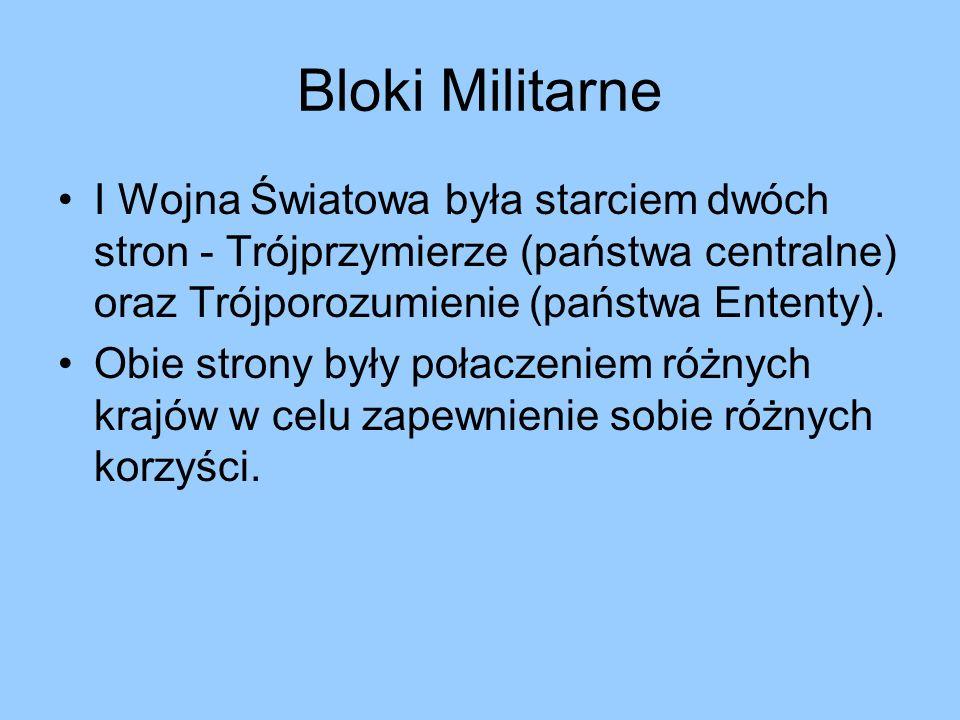 Bloki Militarne I Wojna Światowa była starciem dwóch stron - Trójprzymierze (państwa centralne) oraz Trójporozumienie (państwa Ententy). Obie strony b