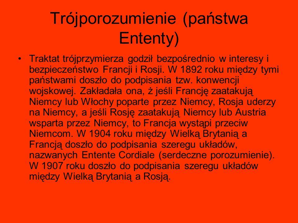 Trójporozumienie (państwa Ententy) Traktat trójprzymierza godził bezpośrednio w interesy i bezpieczeństwo Francji i Rosji. W 1892 roku między tymi pań