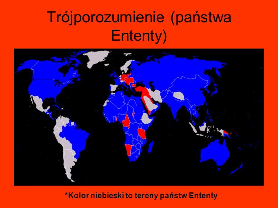 Trójporozumienie (państwa Ententy) *Kolor niebieski to tereny państw Ententy