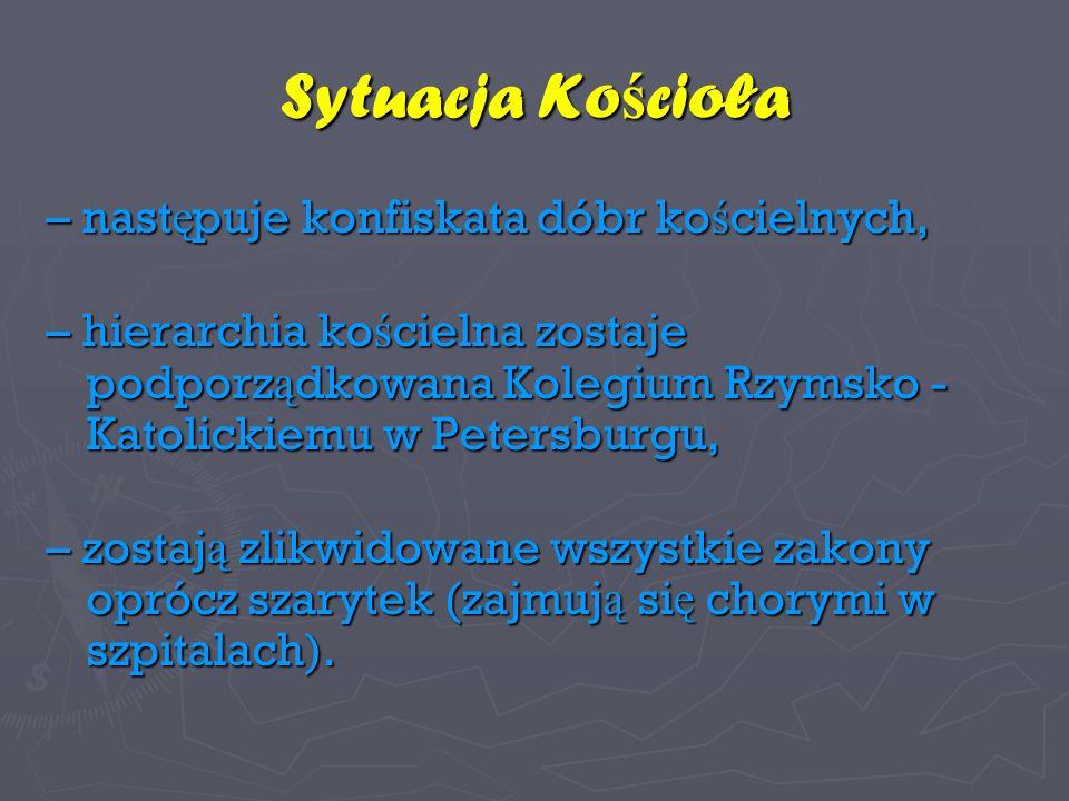 Szkoła polska pod zaborem rosyjskim W zaborze rosyjskim pierwszym posuni ę ciem Katarzyny II by ł a likwidacja szkó ł KEN-u oraz wprowadzenie cenzury ksi ąż ek.