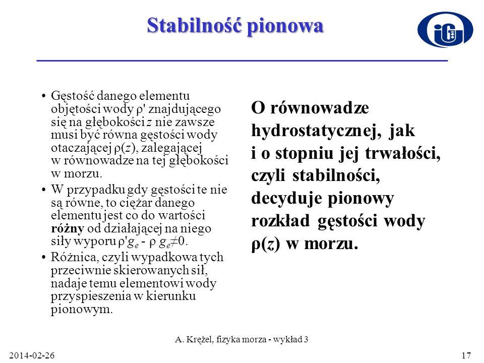 Stabilność pionowa Gęstość danego elementu objętości wody ρ' znajdującego się na głębokości z nie zawsze musi być równa gęstości wody otaczającej ρ(z)