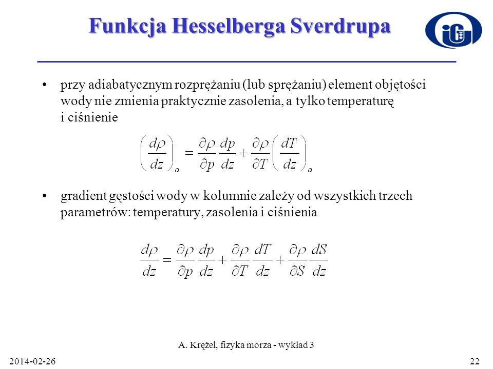 Funkcja Hesselberga Sverdrupa przy adiabatycznym rozprężaniu (lub sprężaniu) element objętości wody nie zmienia praktycznie zasolenia, a tylko tempera