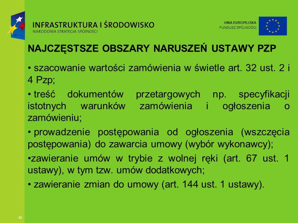 UNIA EUROPEJSKA FUNDUSZ SPÓJNOŚCI 11 NAJCZĘSTSZE OBSZARY NARUSZEŃ USTAWY PZP szacowanie wartości zamówienia w świetle art. 32 ust. 2 i 4 Pzp; treść do
