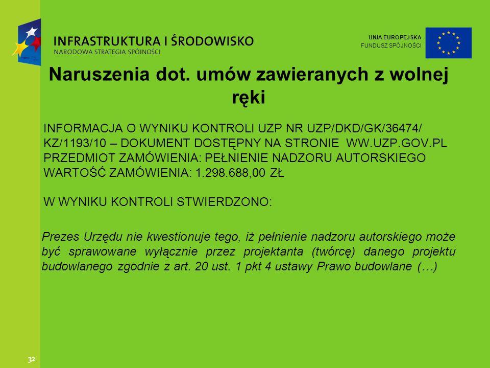 UNIA EUROPEJSKA FUNDUSZ SPÓJNOŚCI 32 INFORMACJA O WYNIKU KONTROLI UZP NR UZP/DKD/GK/36474/ KZ/1193/10 – DOKUMENT DOSTĘPNY NA STRONIE WW.UZP.GOV.PL PRZ