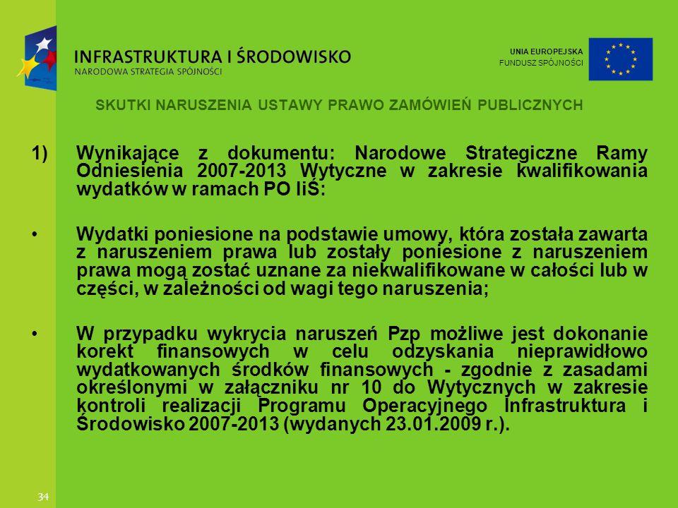 UNIA EUROPEJSKA FUNDUSZ SPÓJNOŚCI 34 SKUTKI NARUSZENIA USTAWY PRAWO ZAMÓWIEŃ PUBLICZNYCH 1)Wynikające z dokumentu: Narodowe Strategiczne Ramy Odniesie