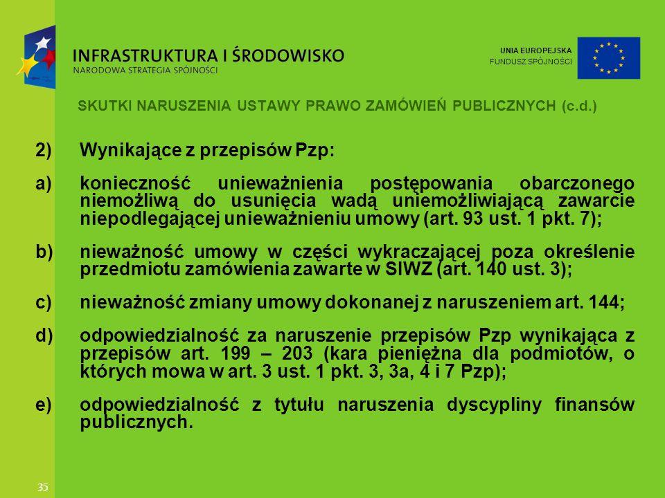 UNIA EUROPEJSKA FUNDUSZ SPÓJNOŚCI 35 SKUTKI NARUSZENIA USTAWY PRAWO ZAMÓWIEŃ PUBLICZNYCH (c.d.) 2)Wynikające z przepisów Pzp: a)konieczność unieważnie