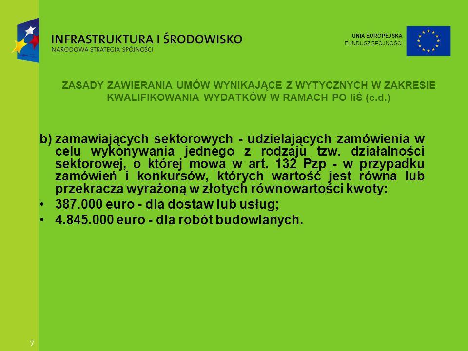 UNIA EUROPEJSKA FUNDUSZ SPÓJNOŚCI 8 ZASADY ZAWIERANIA UMÓW WYNIKAJĄCE Z WYTYCZNYCH W ZAKRESIE KWALIFIKOWANIA WYDATKÓW W RAMACH PO IiŚ(c.d.) 3)Beneficjent zawierający z wykonawcami umowy, które zostały wyłączone z zakresu stosowania Pzp, z wyjątkiem zamówień, o których mowa w pkt.