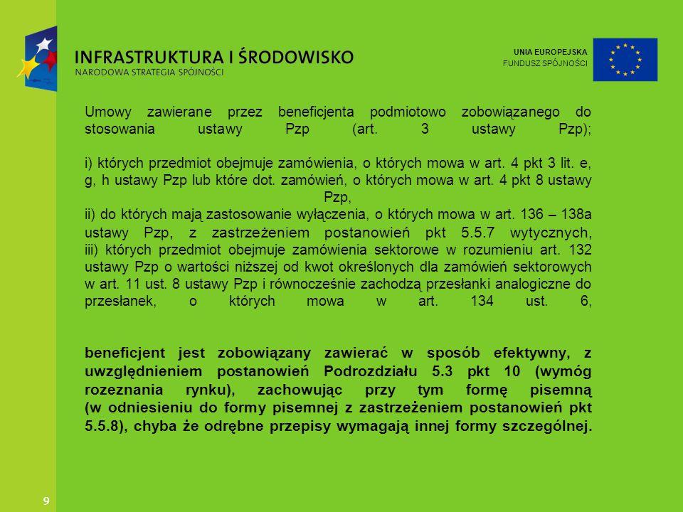 UNIA EUROPEJSKA FUNDUSZ SPÓJNOŚCI 9 9 Umowy zawierane przez beneficjenta podmiotowo zobowiązanego do stosowania ustawy Pzp (art. 3 ustawy Pzp); i) któ
