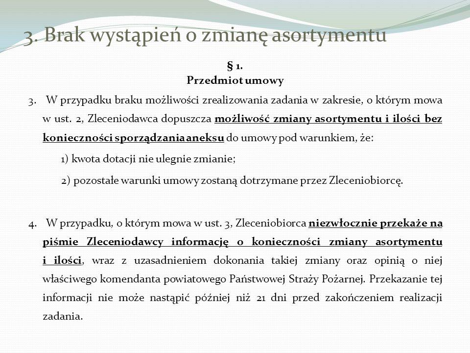 3. Brak wystąpień o zmianę asortymentu § 1. Przedmiot umowy 3. W przypadku braku możliwości zrealizowania zadania w zakresie, o którym mowa w ust. 2,