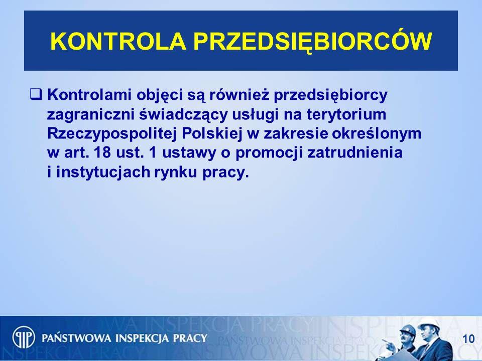 10 KONTROLA PRZEDSIĘBIORCÓW Kontrolami objęci są również przedsiębiorcy zagraniczni świadczący usługi na terytorium Rzeczypospolitej Polskiej w zakres