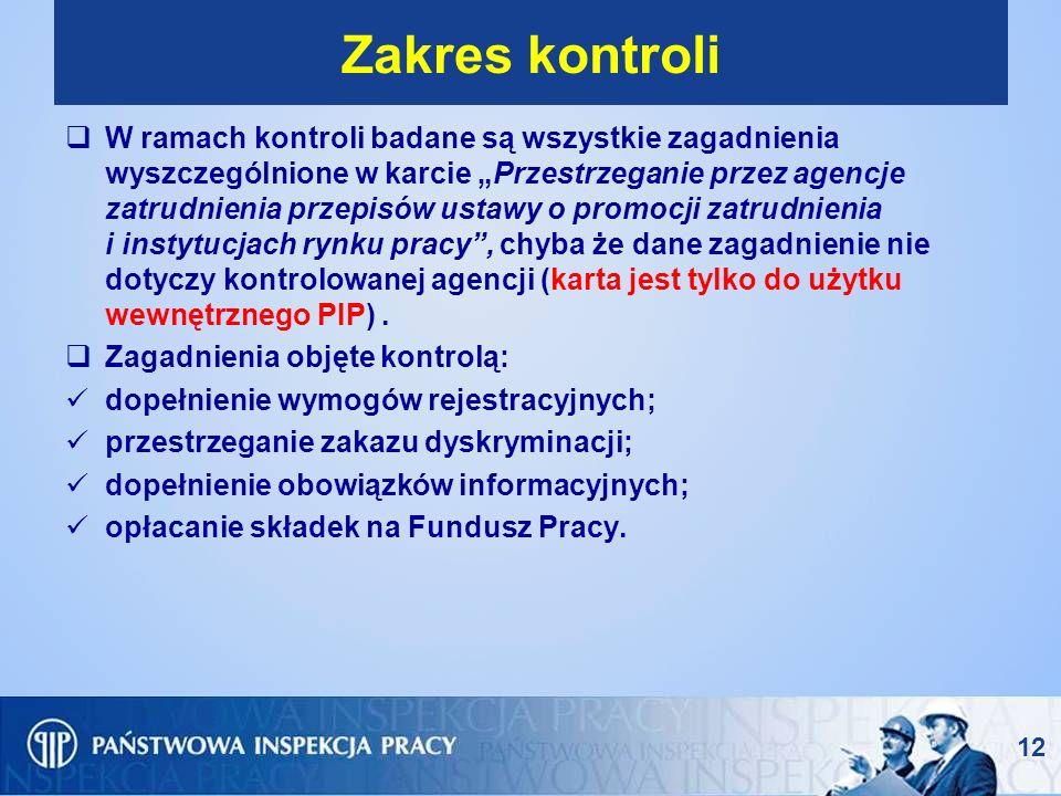 12 Zakres kontroli W ramach kontroli badane są wszystkie zagadnienia wyszczególnione w karcie Przestrzeganie przez agencje zatrudnienia przepisów usta