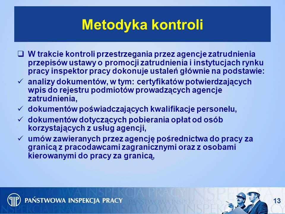13 Metodyka kontroli W trakcie kontroli przestrzegania przez agencje zatrudnienia przepisów ustawy o promocji zatrudnienia i instytucjach rynku pracy
